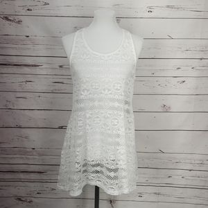 West Loop Women's White Lace Beach Cover Up